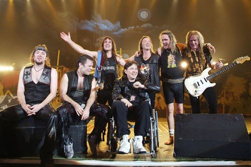 Iron Maiden with ex-drummer and MS sufferer Clive Burr