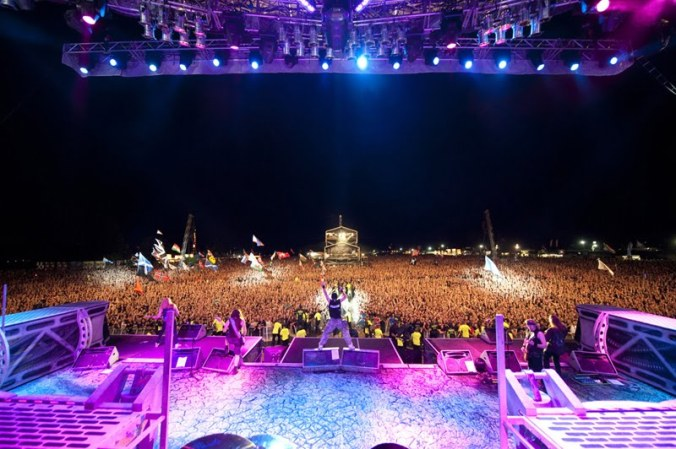 Iron Maiden entertaining a sold out Knebworth Sonisphere in 2010.